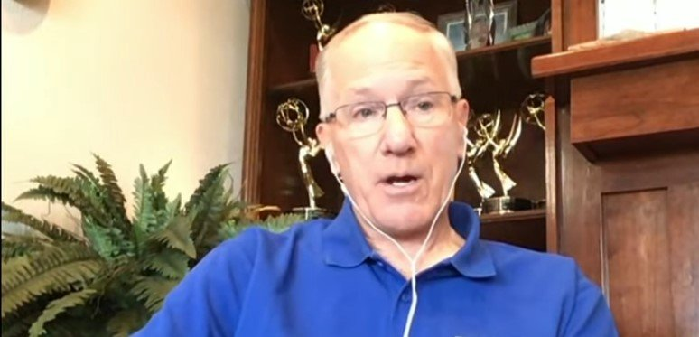 Doc Emrick in an interview with Mike Tirico to discuss NHL issues on NBC   Photo: Youtube/ NBC Sports