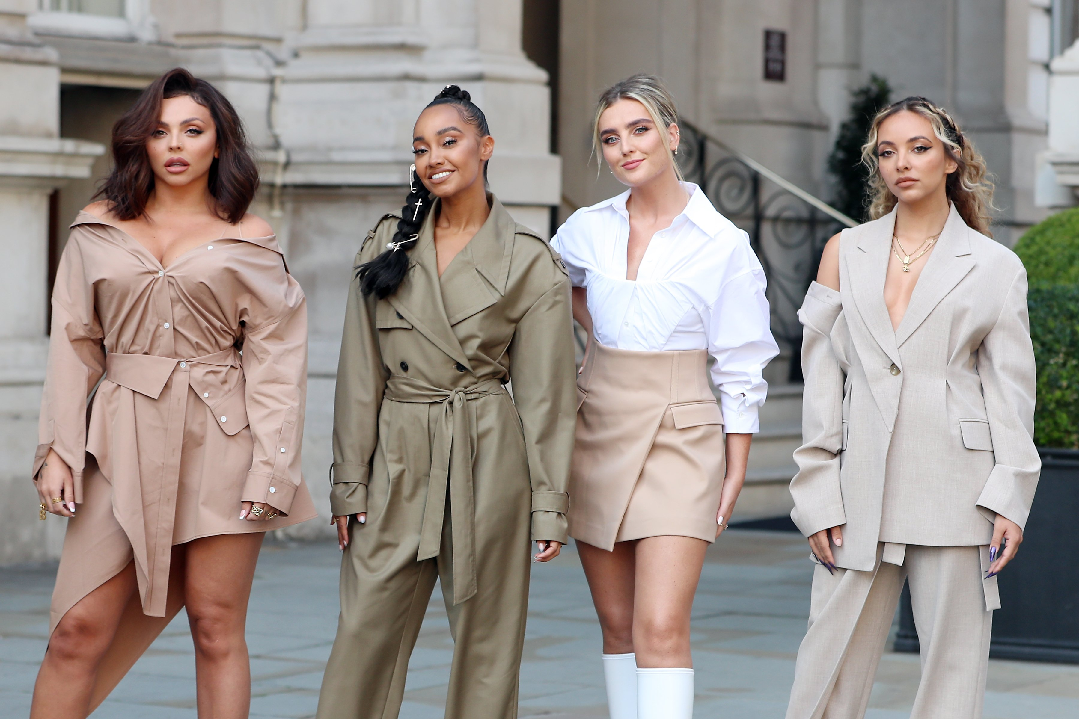 Little Mix band members leaving the Langham Hotel for their performance at BBC Radio One Live Lounge, London, 2020 | Photo: Getty Images