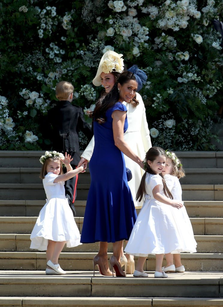 Princess Charlotte, Prince George, Catherine, Duchess of Cambridge, Jessica Mulroney, Ivy Mulroney and Florence van Cutsem at St George's Chapel at Windsor Castle on May 19, 2018  | Photo: GettyImages