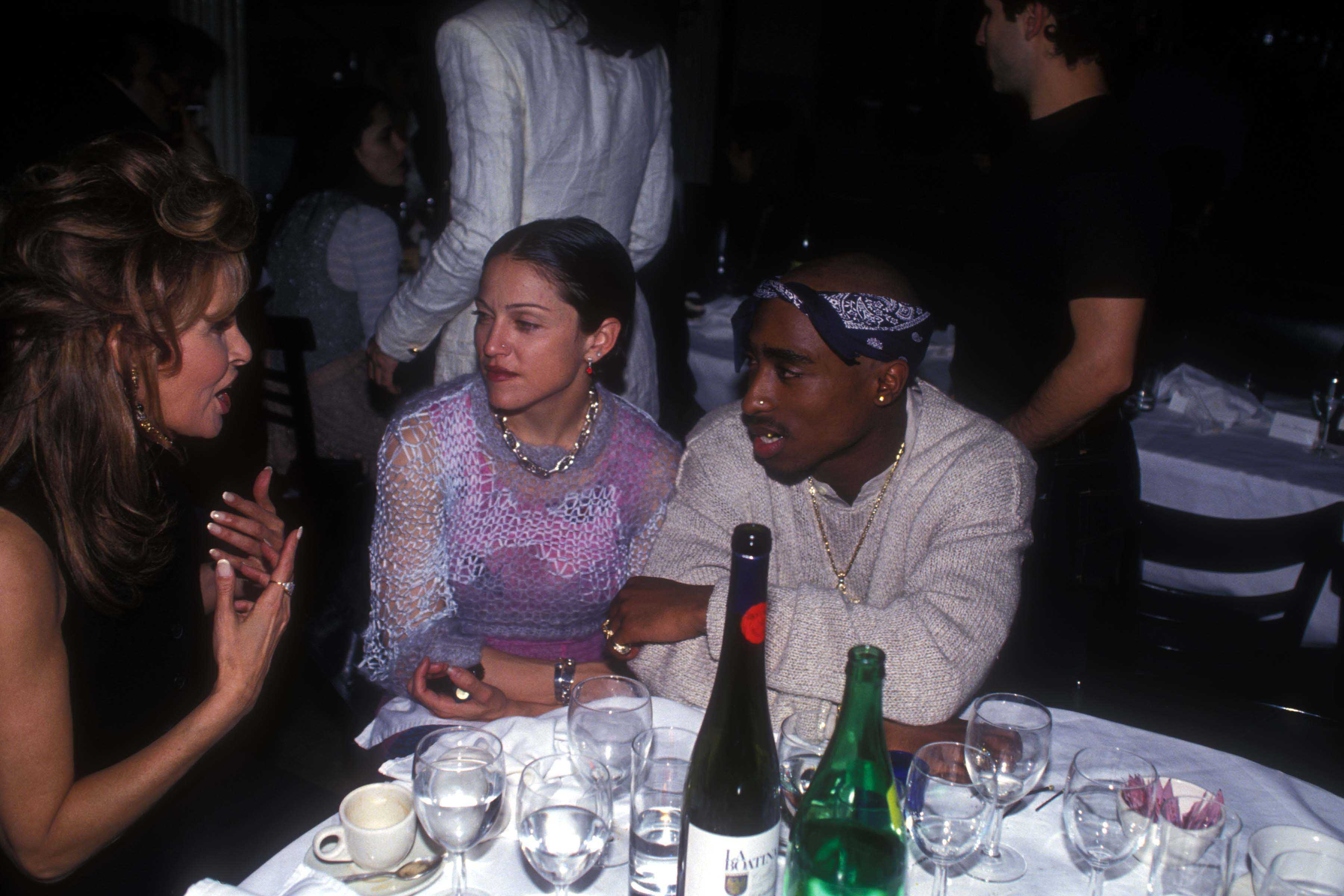 Raquel Welch, Madonna and Tupac Shakur at the Interview Magazine party in March 1, 1994 in New York City. | Photo: GettyImages