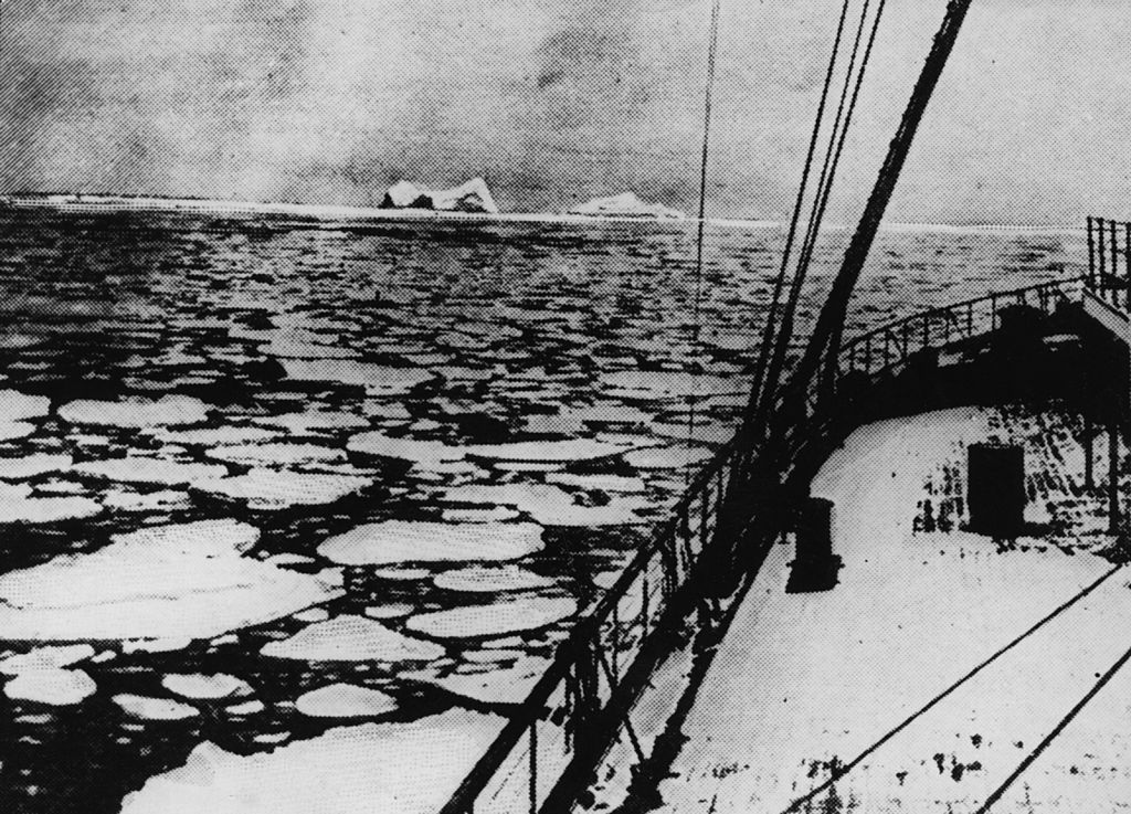 Latitude 41' 46N and longitude 50' 14W, the place where the 'Titanic' sank on April 4, 1912: . Original Publication: The Graphic - pub. 1912. | Source: Getty Images