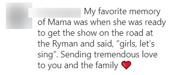 A fan commenting on Reba Mcentire's Instagram post of her mother's death. | Photo: Instagram/reba