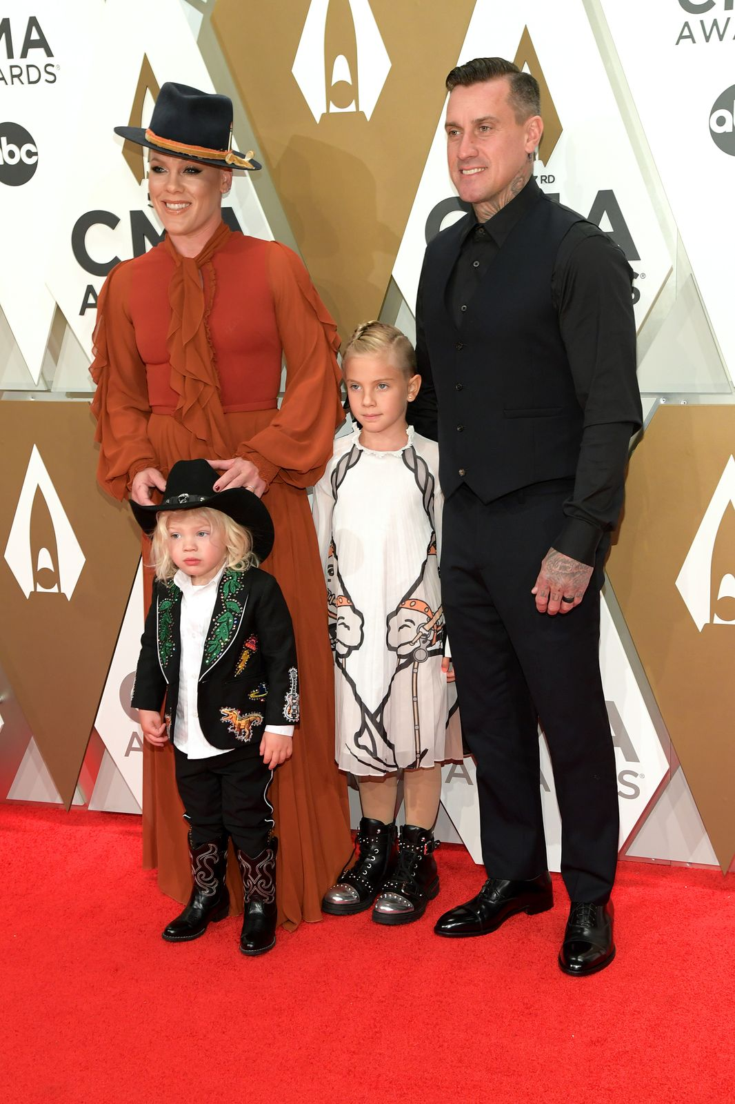 Pink and her family pictured at the 53rd annual CMA Awards on Nashville Tennessee, November, 2019.   Photo: Getty Images