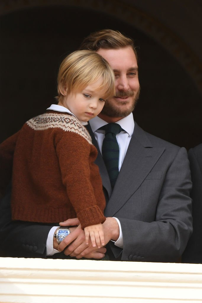 Pierre Casiraghi and son Stefano attend the Monaco National Day. | Source: Getty Images