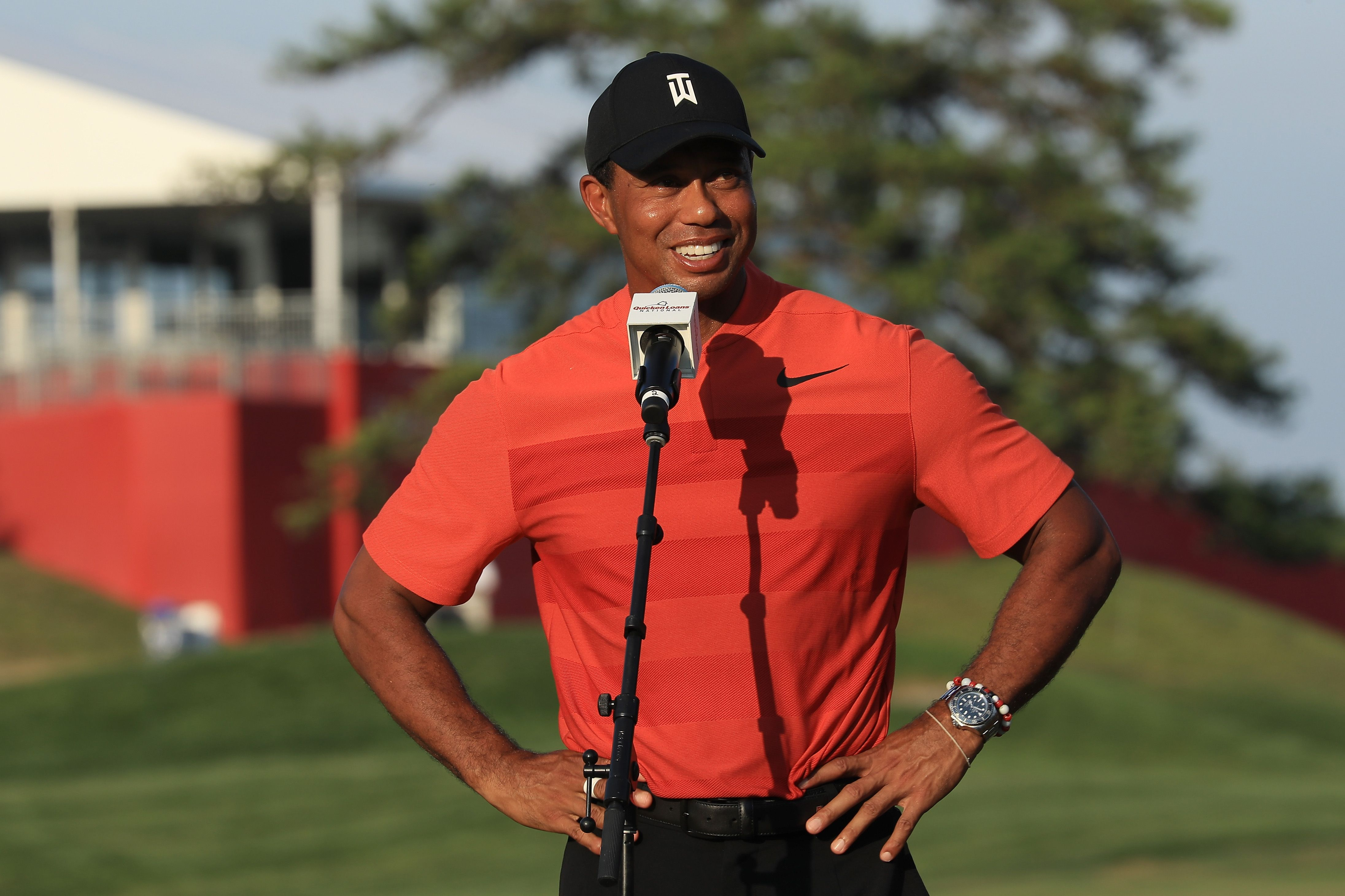 Tiger Woods during the trophy presentation at the Quicken Loans National at TPC Potomac on July 1, 2018 in Potomac, Maryland.   Source: Getty Images