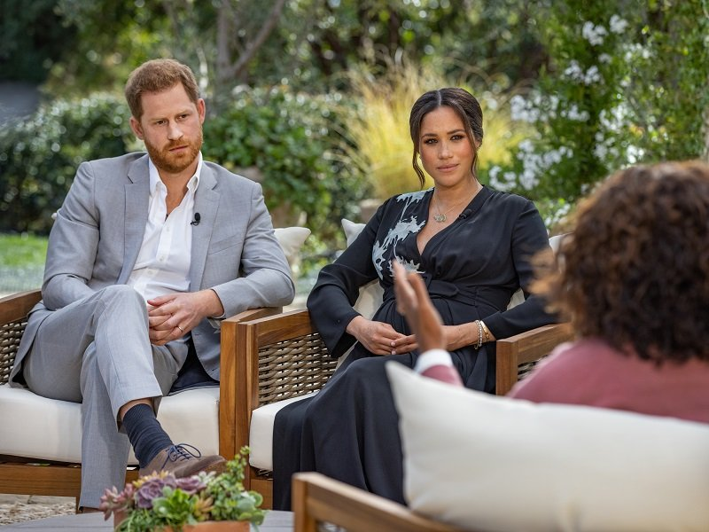 Prince Harry and Meghan Markle during their interview with Oprah Winfrey aired on March 7, 2021 | Photo: Getty Images