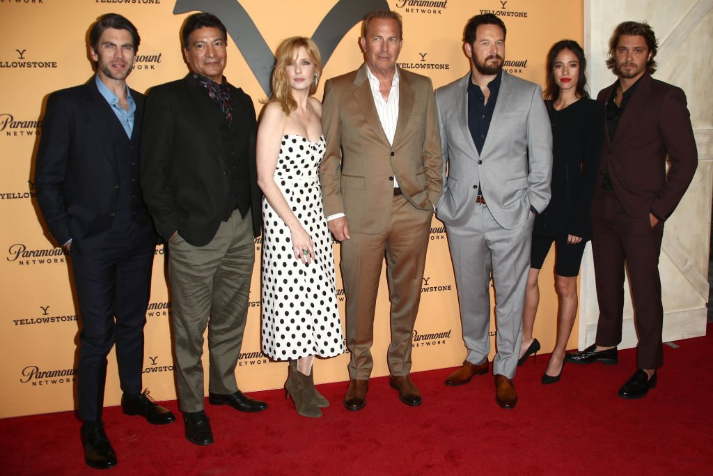 """Wes Bentley, Gil Birmingham, Kelly Reilly, Kevin Costner, Cole Hauser, Kelsey Asbille and Luke Grimes attends the Premiere Party For Paramount Network's """"Yellowstone"""" Season 2 on May 30, 2019, in Los Angeles, California.   Source: Getty Images."""