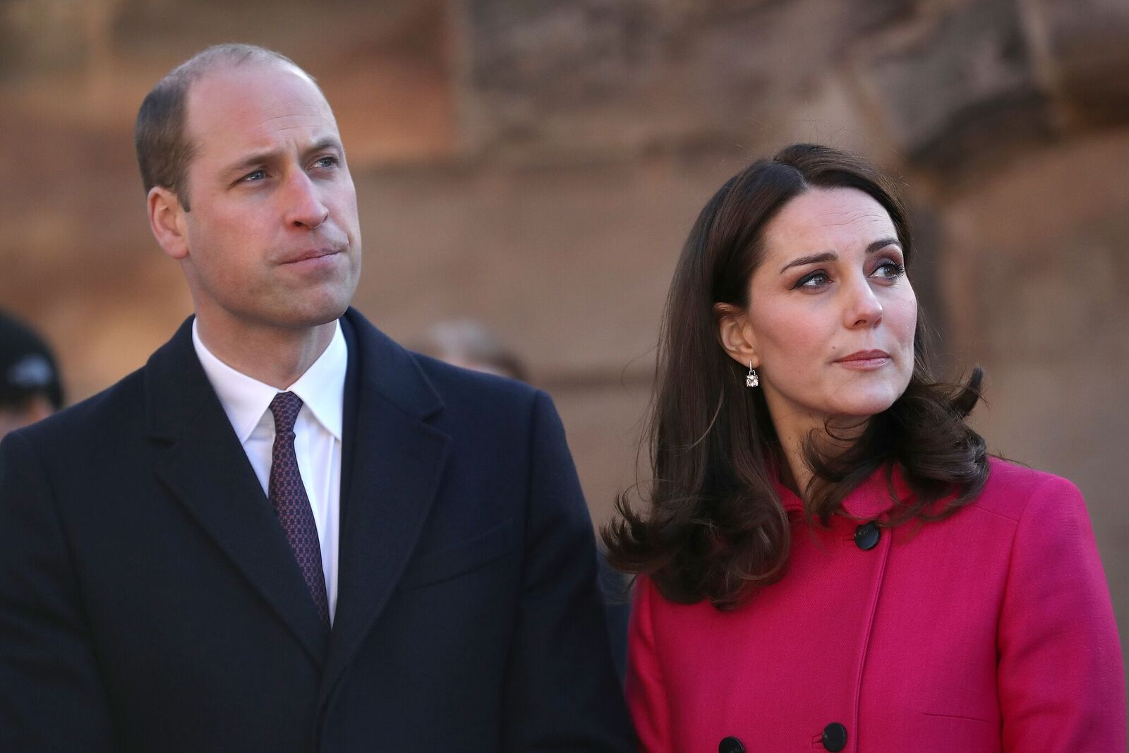 Prince William, Duke of Cambridge and Catherine, Duchess of Cambridge arrive for their visit to Coventry Cathedral during their visit to the city on January 16, 2018   Photo: Getty Images