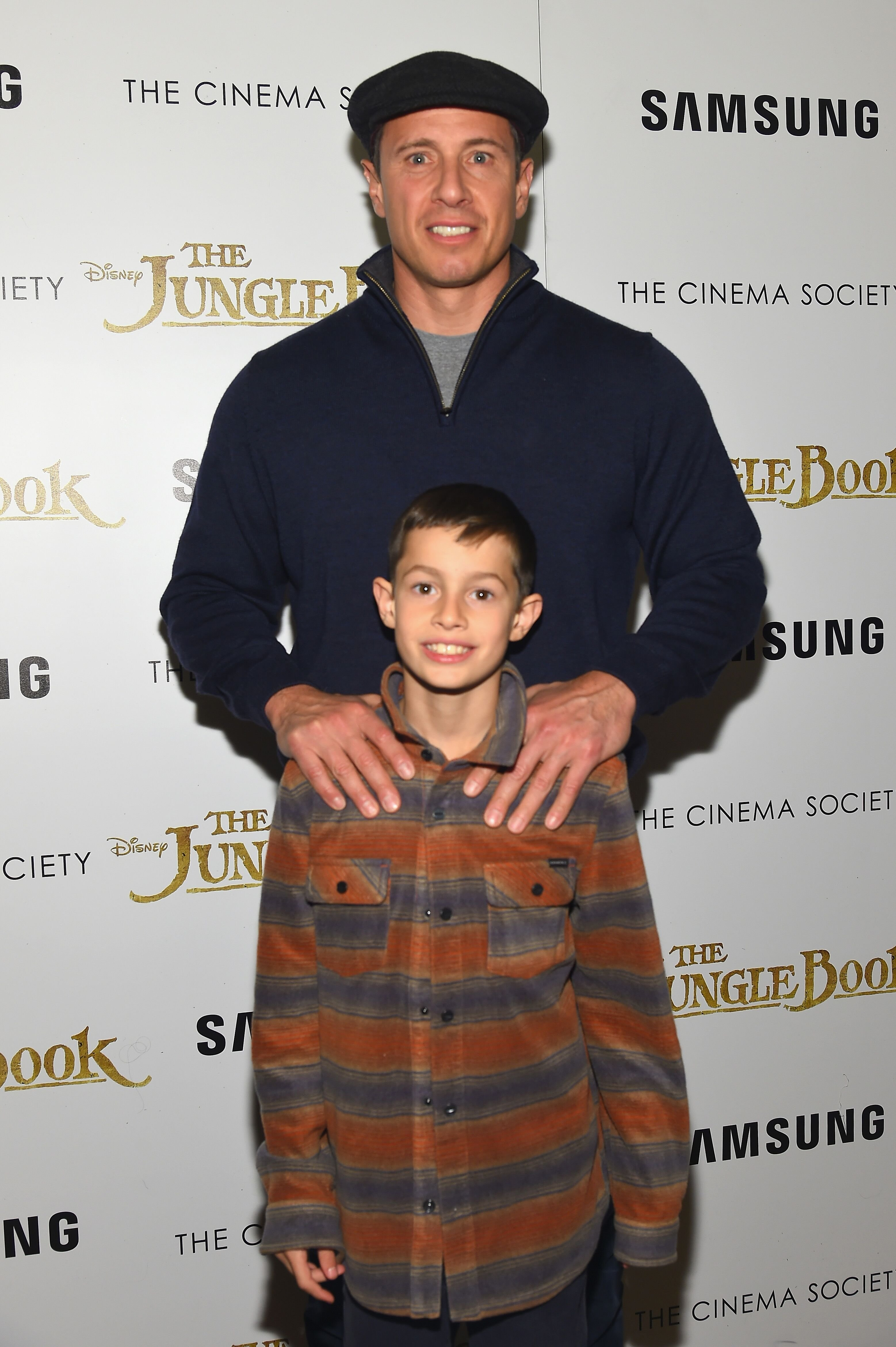 """Chris and son Mario Cuomo at the screening of """"The Jungle Book"""" at AMC Empire 25 theater on April 7, 2016, in New York City 
