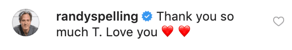 Randy's comment on Tori's Instagram Post | Source: Instagram//torispelling
