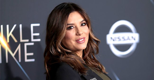 'Desperate Housewives' Alum Eva Longoria Ditches Bra While Lounging on a Sofa in All-Black Look
