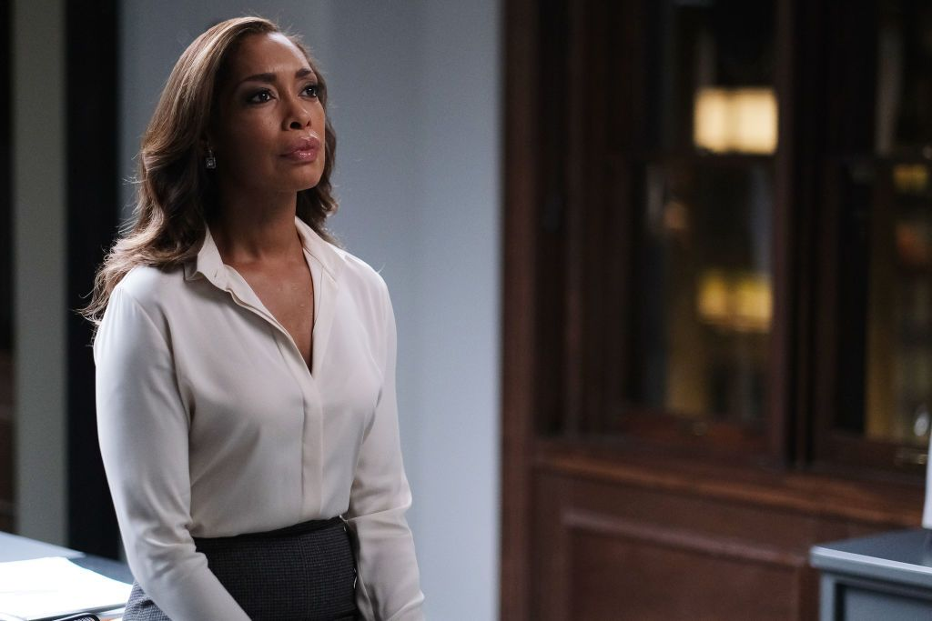 """Gina Torres as Jessica Pearson on the set of """"Suits"""" 