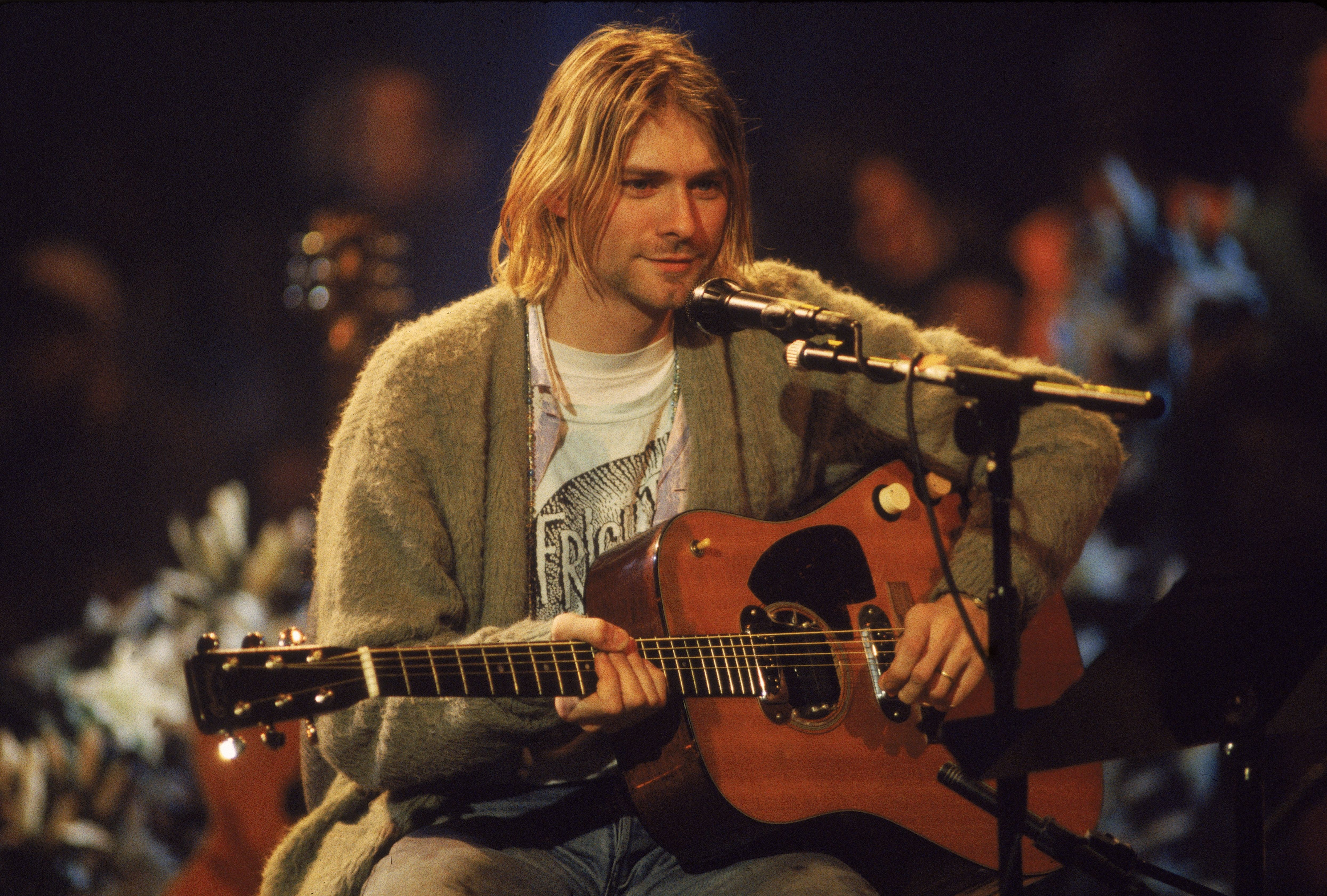 """Kurt Cobain performs with his group Nirvana at a taping of the television program """"MTV Unplugged."""" 