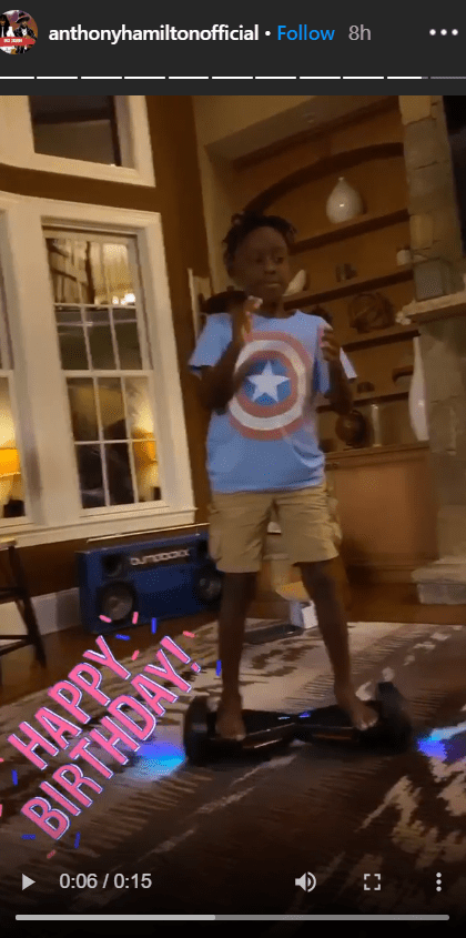 Anthony Hamilton's son, Princeton pictured on a hoverboard on his birthday. | Photo: Instagram/@Anthony Hamilton