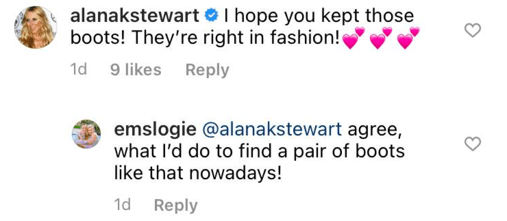 Alana Stewart and a fan's comment on Joan Collins' throwback picture.   Photo: Instagram/joancollinsdbe