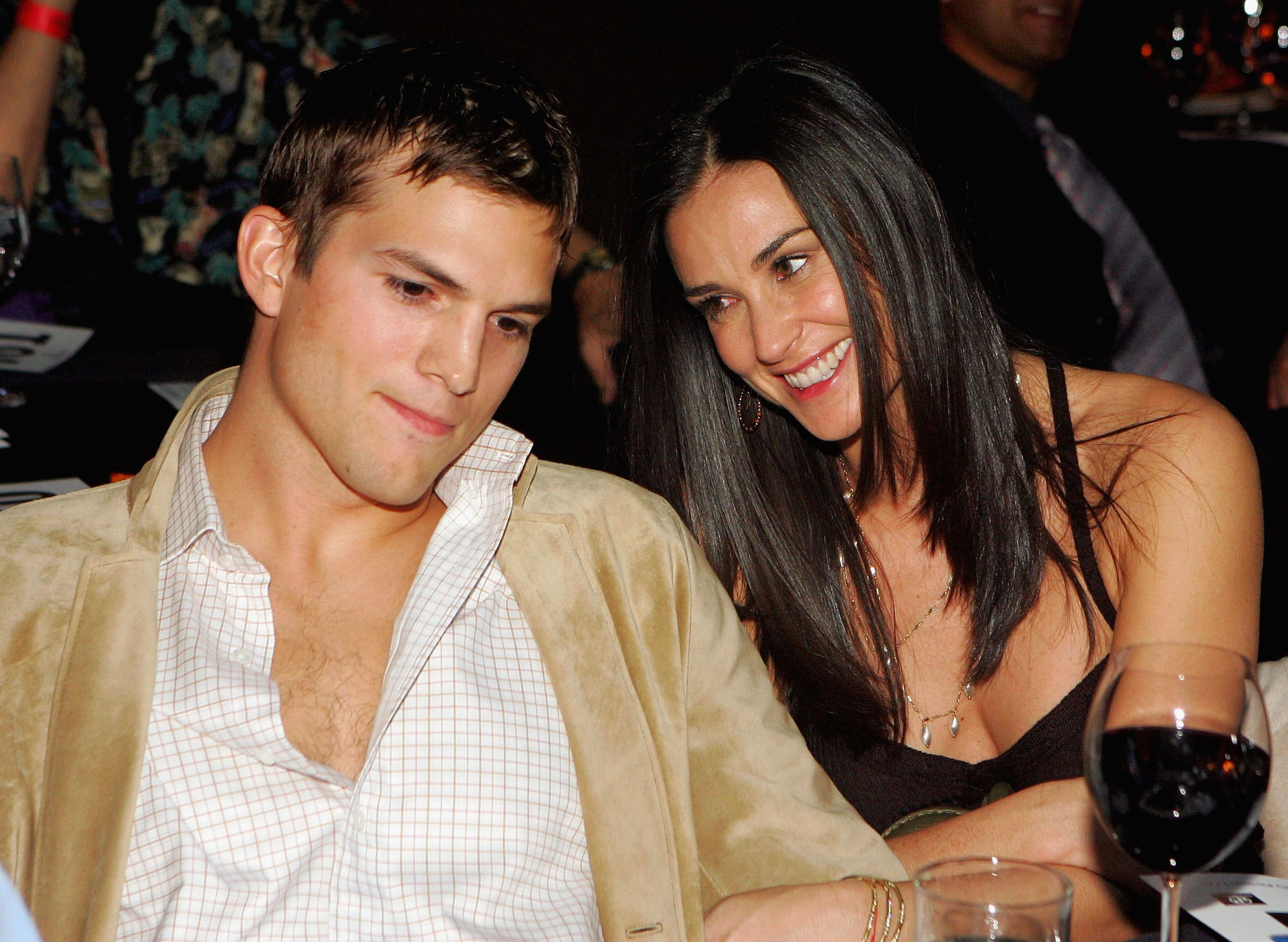 Ashton Kutcher and Demi Moore during Ubid.com Joins Forces with Hollywood Stars to Launch Celebrity Auction to Benefit Hurricane Victims. | Source: Getty Images
