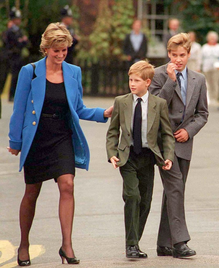 Princes Diana walks with sons Prince Harry and Prince William in September 1995 | Photo: Getty Images