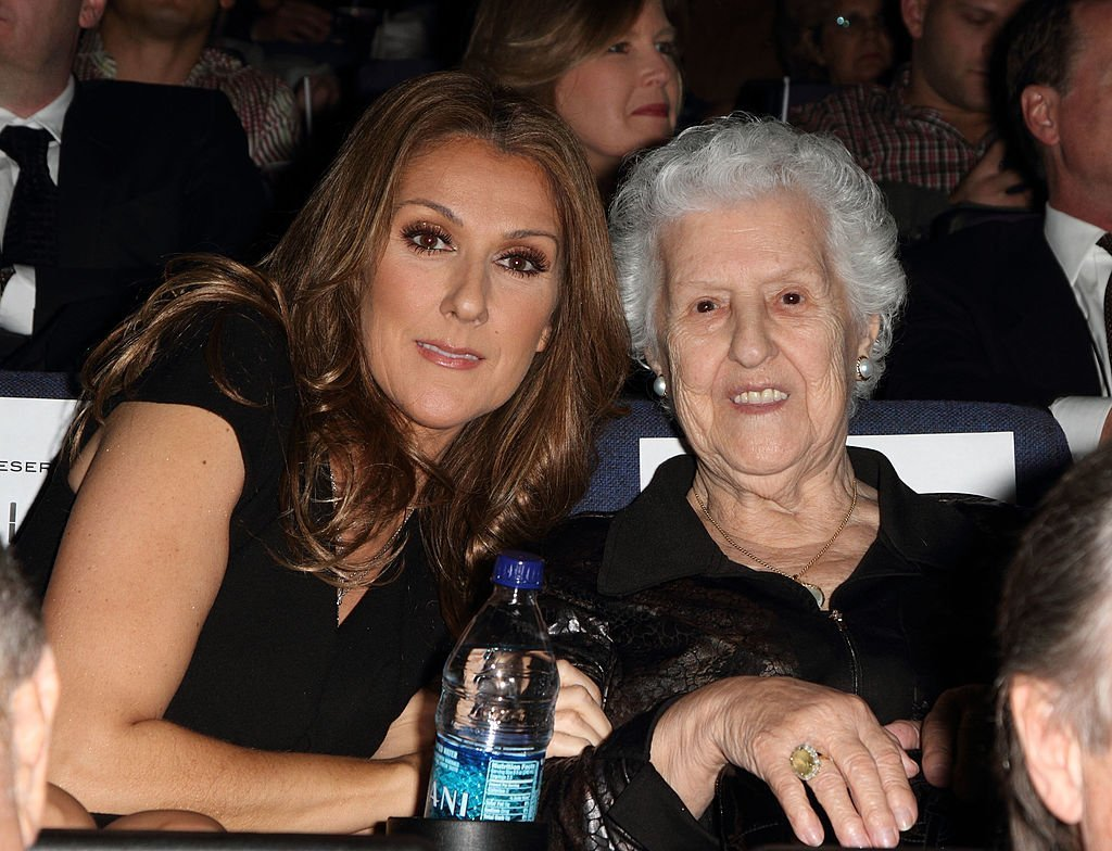 """Celine Dion and her mother, Therese Tanguay-Dion sit in the audience at the premiere for """"Celine: Through The Eyes of The World"""" on February 16, 2010, in Miami Beach, Florida 