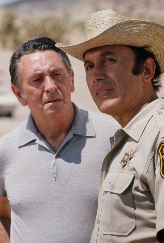 Macdonald Carey, Michael Ansara appearing in the ABC tv movie 'Ordeal', Red Rock Canyon State Park | Getty Images