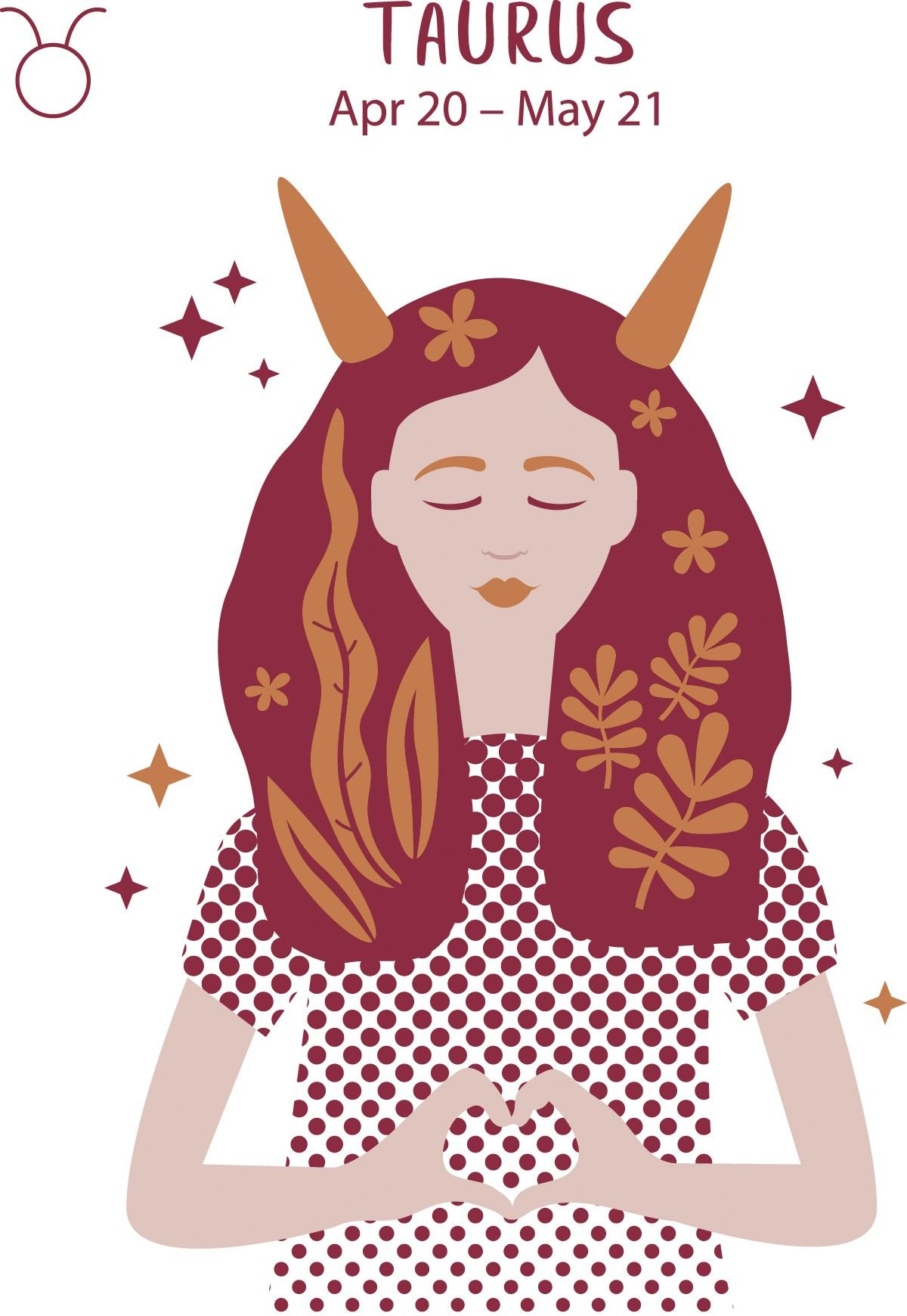 Taurus (April 20 - May 21) represented by a woman with spiked horns and foliage in her hair.