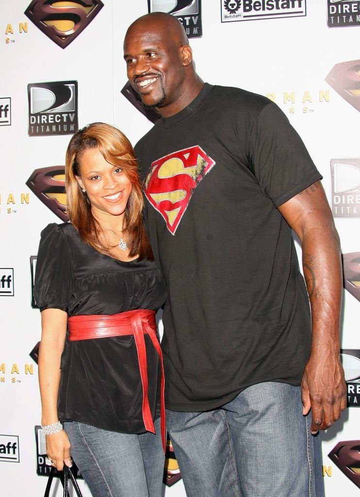 """Basketball player Shaquille O'Neal (R) and wife Shaunie Nelson arrive at the Warner Bros. premiere of """"Superman Returns"""" held at the Mann Village Theater 