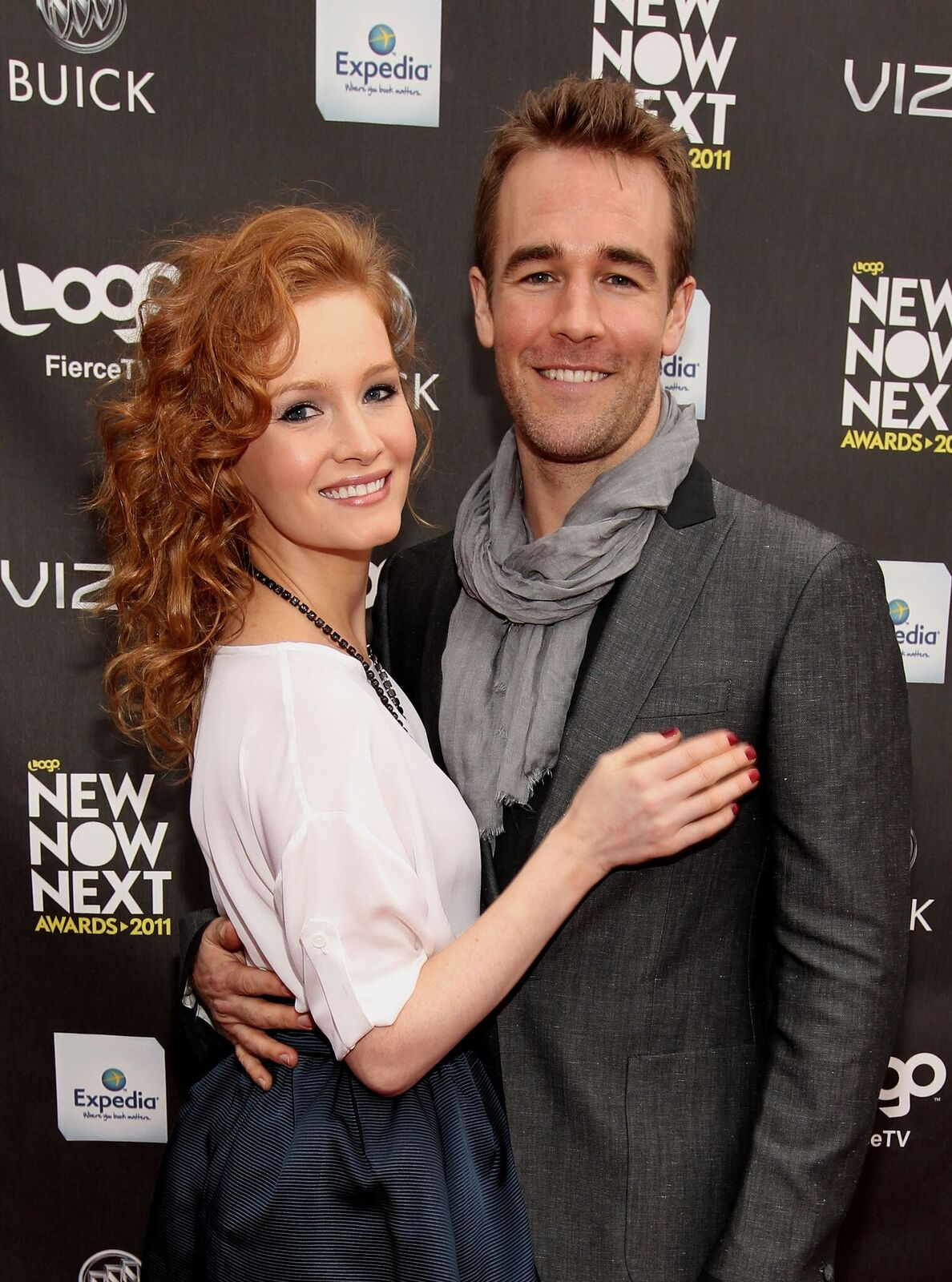 "Actor James Van Der Beek (R) and wife Kimberly Van Der Beek arrive at Logo's ""NewNowNext Awards"" 2011 at Avalon on April 7, 2011 in Hollywood, California 