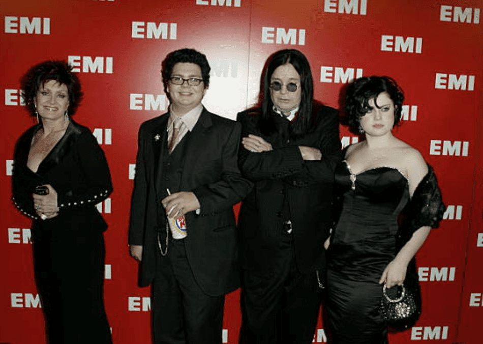 Sharon Osbourne, Jack Osbourne, Ozzy Osbourne and Kelly Osbourne arrive on the red carpet at the EMI Post-Grammy party, at the Los Angeles County Museum of Art | Source: Paul Mounce/Corbis via Getty Images