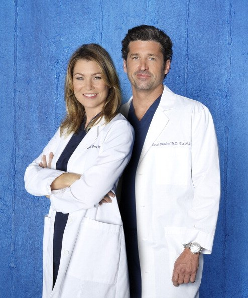 "Ellen Pompeo as Dr. Meredith Grey and Patrick Dempsey as Dr. Derek Shepherd on ""Grey's Anatomy. Image created in May 2014. 