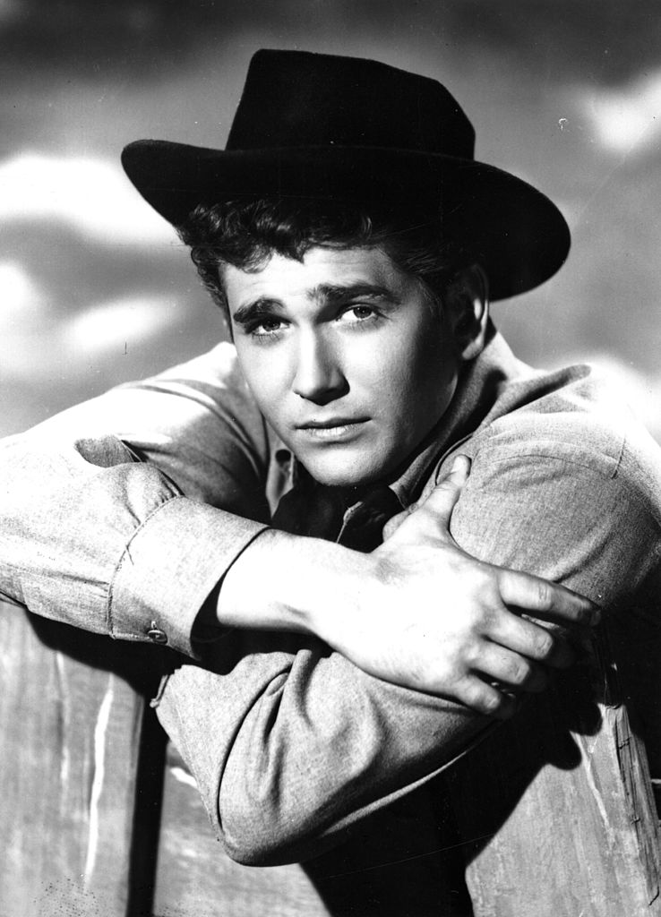 "Michael Landon wearing a cowboy hat for his role in the TV series ""Bonanza."" 