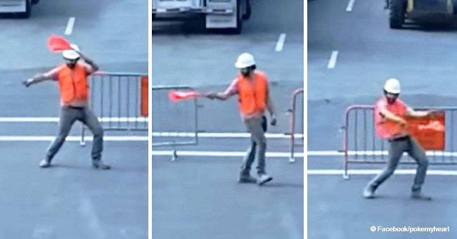 Video of construction worker's over-the-top moves while directing traffic still sparks laughter