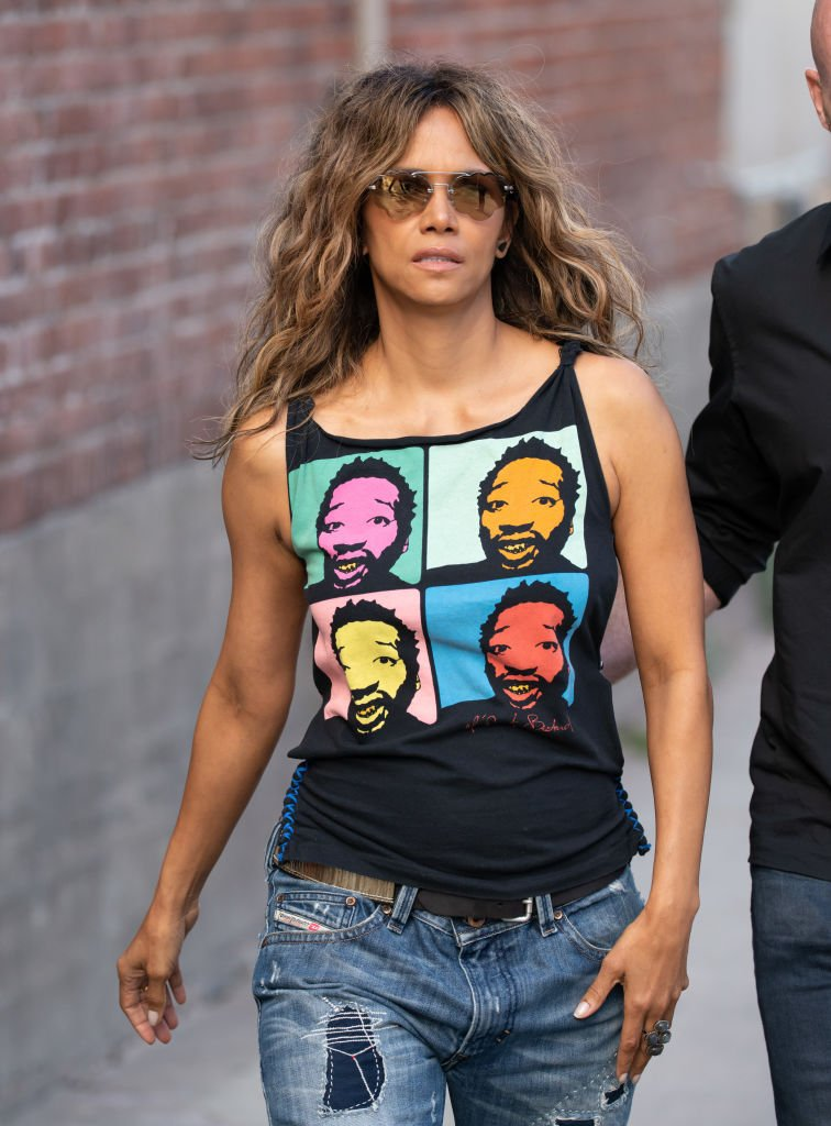 """""""Catwoman"""" star Halle Berry heading towards the TV show """"Jimmel Kimmel Live"""" in Los Angeles, California in 2019. 