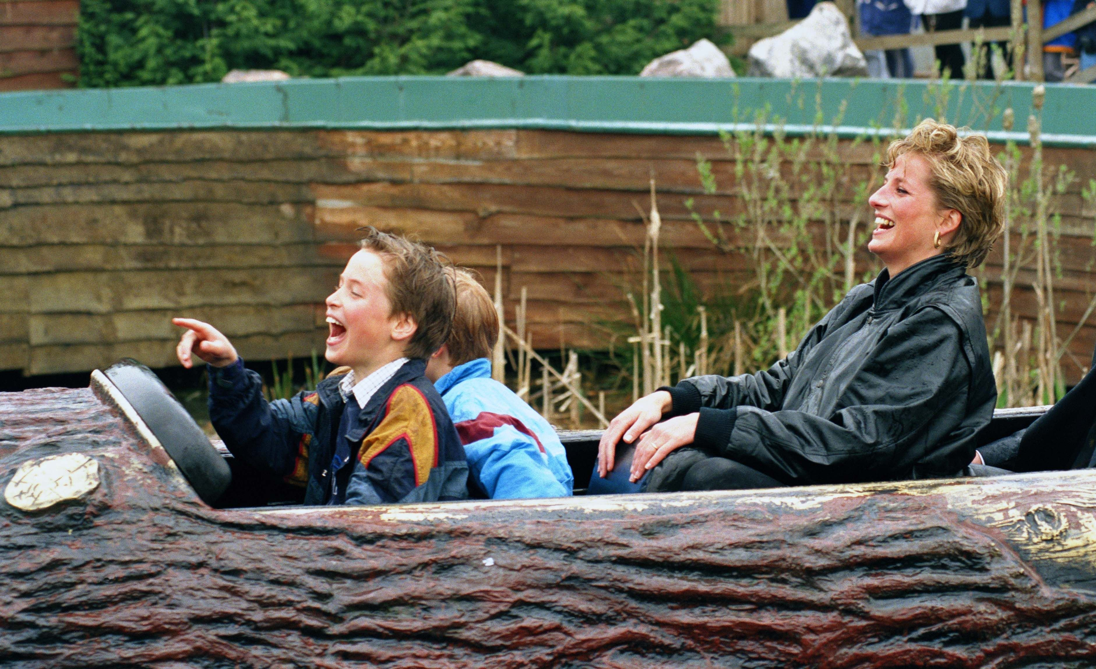 Princess Diana, Prince William, and Prince Harry at The 'Thorpe Park' Amusement Park onApril 13, 1993   Photo: Getty Images