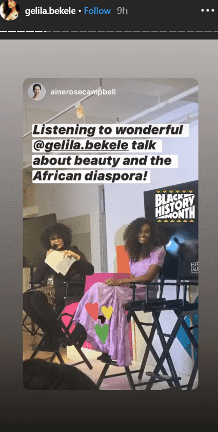 Model and activist, Gelila Bekele giving a speech about African Diaspora | Photo: Instagram/gelilabekele