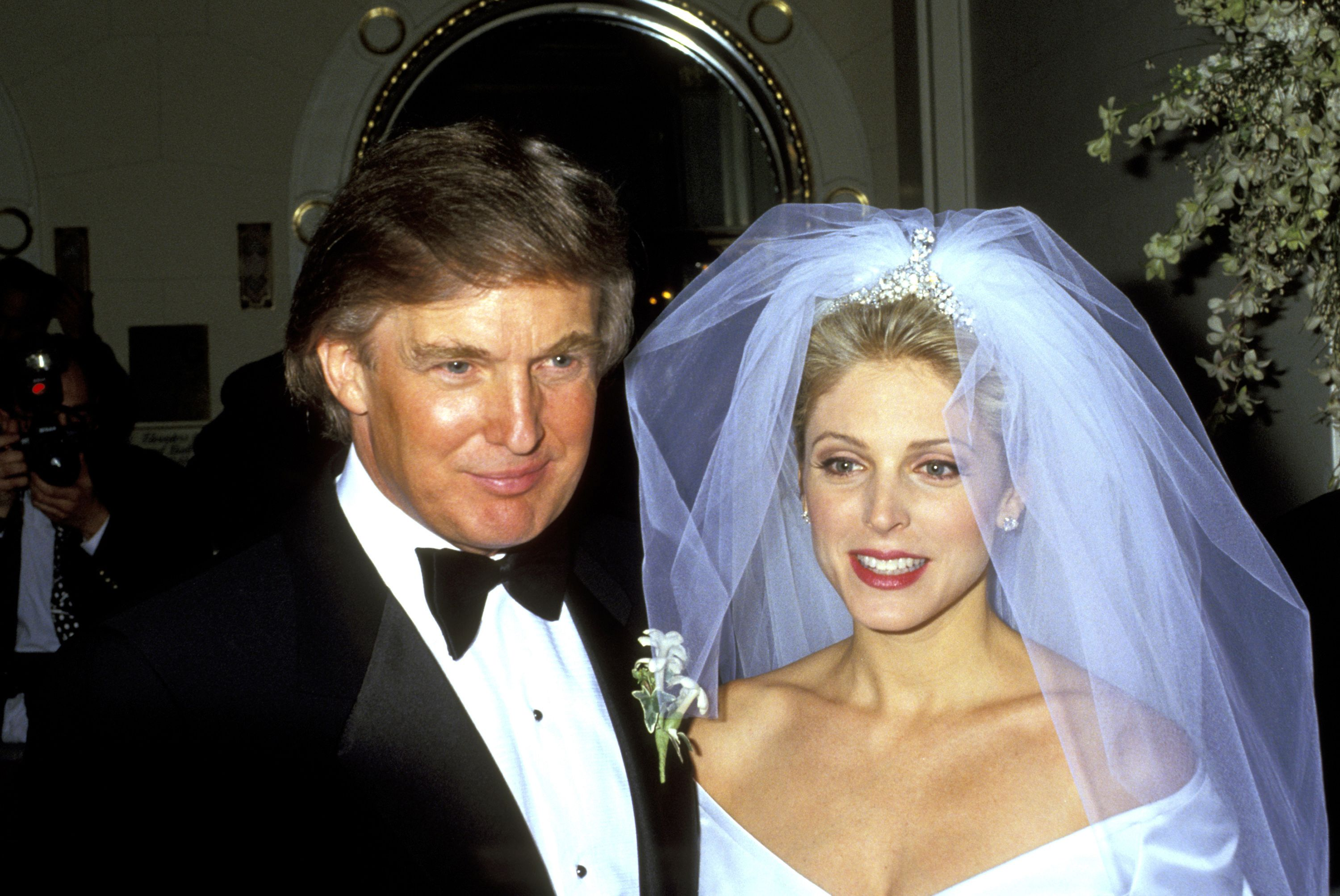 Marla Maples and Donald Trump at their wedding at the Plaza Hotel in 1983 | Source: Getty Images