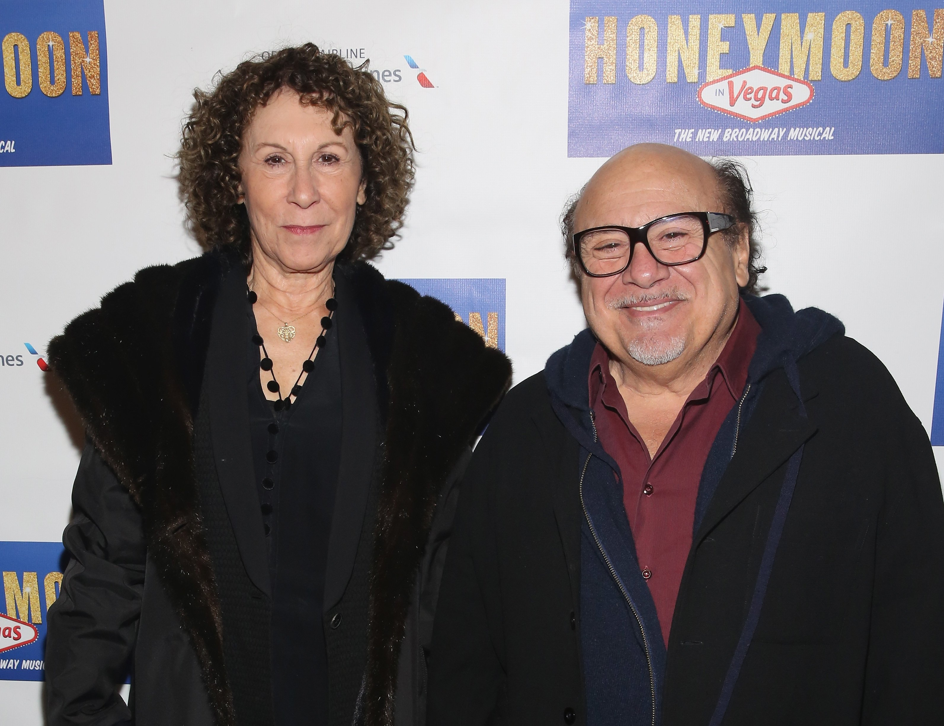 "Rhea Pearlman and Danny DeVito attends ""Honeymoon In Vegas"" Broadway Opening Night at Nederlander Theatre on January 15, 2015 