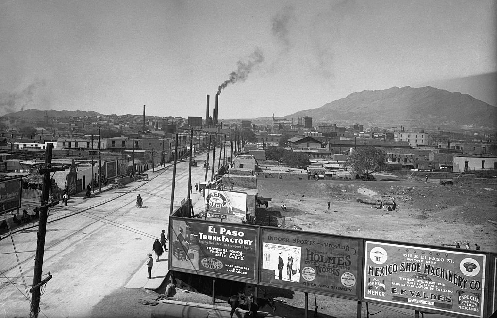 Looking north from the International Bridge showing the Mexican quarter, circa 1910s   Source: Getty Images