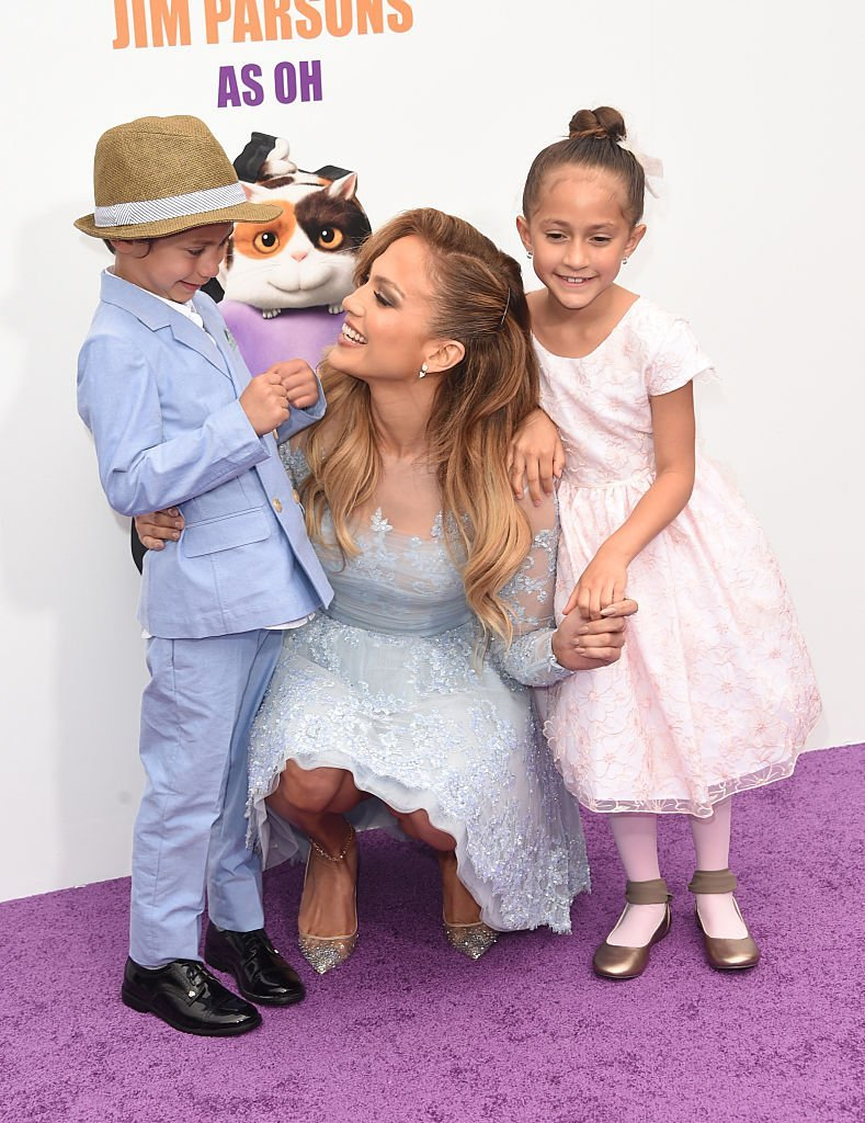 "Jennifer Lopez (C) with daughter Emme (R) and son Max attend the premiere of Twentieth Century Fox And Dreamworks Animation's ""HOME"" at Regency Village Theatre on March 22, 2015, in Westwood, California. 