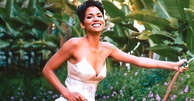 Halle Berry from 'Catwoman' Treats Fans to a Throwback Pic of Her in Off-Shoulder Maxi Dress & with Short Hair
