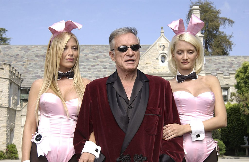 """Playboy bunny Sheila Levell, Hugh Hefner and Holly Madison filming of a commercial for """"X Games IX"""", May 2003 