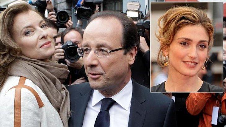 François Hollande et Valérie Trierweiler face aux caméras, photo de Julie Gayet dans l'encadré | Photo: Flickr