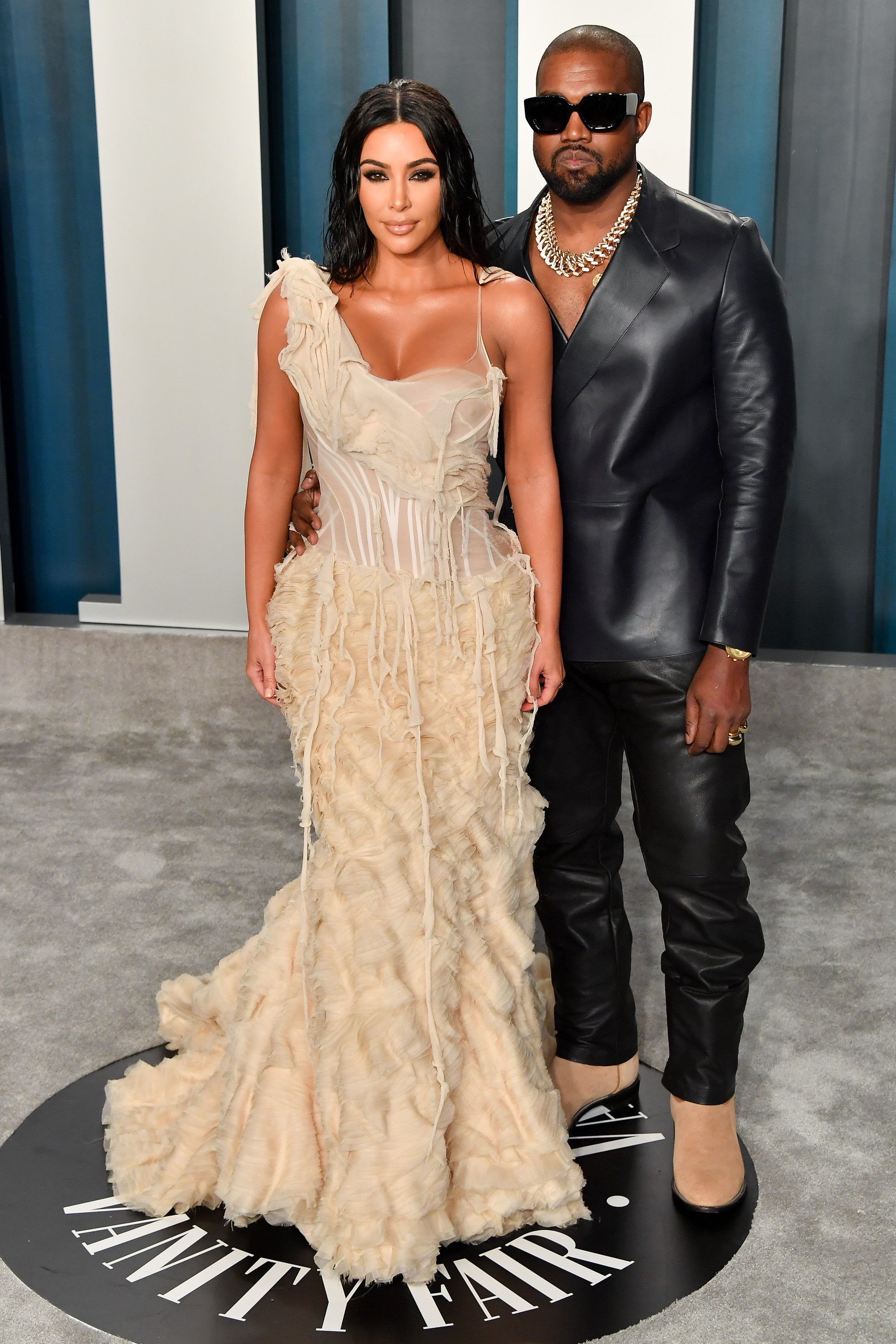 Kim Kardashian West and Kanye West arrive at the 2020 Vanity Fair Oscar Party on February 09, 2020, in Beverly Hills, California.   Source: Getty Images.
