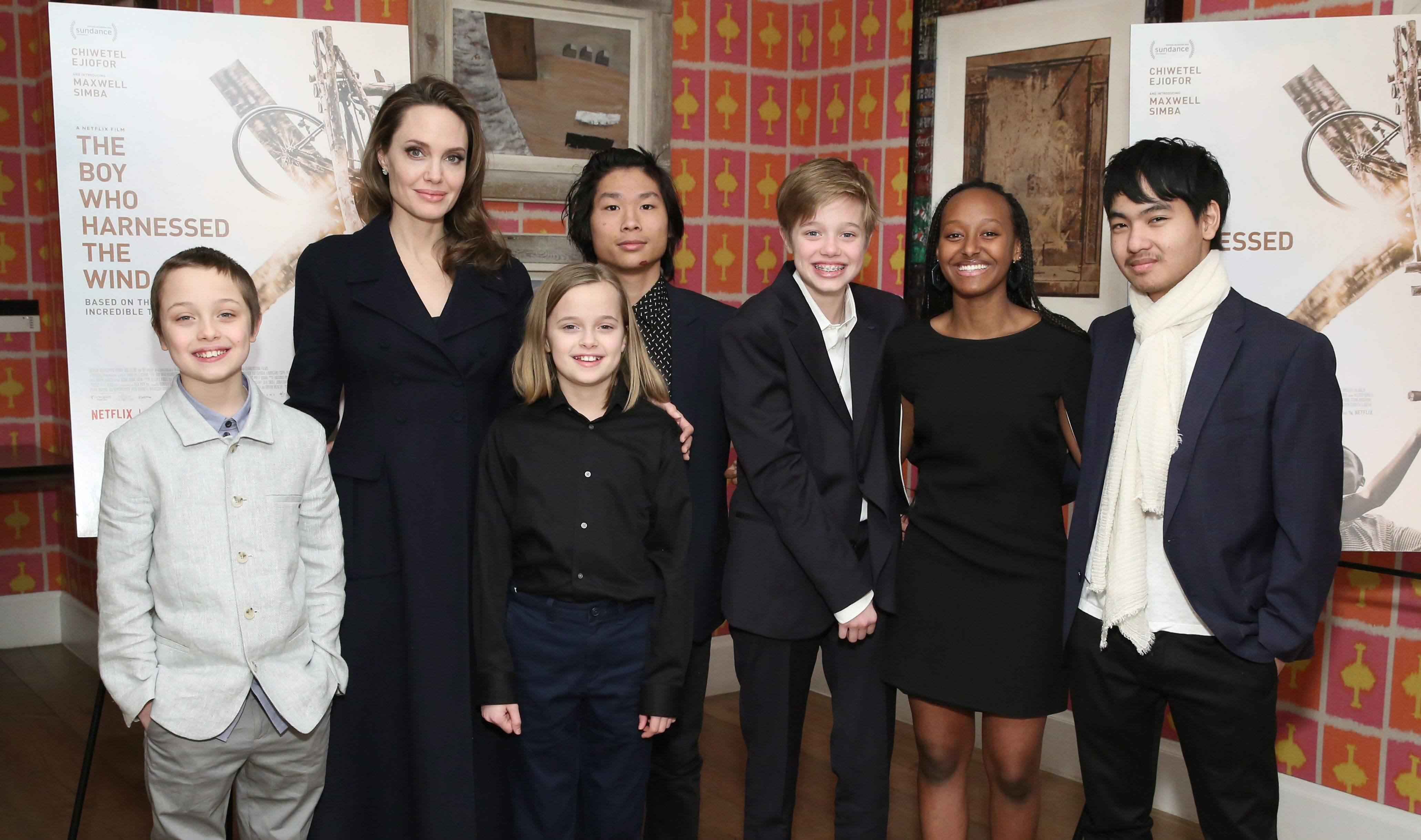 """Angelina Jolie with children Knox Leon Jolie-Pitt, Vivienne Marcheline Jolie-Pitt, Pax Thien Jolie-Pitt, Shiloh Nouvel Jolie-Pitt, Zahara Marley Jolie-Pitt and Maddox Chivan Jolie-Pitt attend """"The Boy Who Harnessed The Wind"""" Special Screening at Crosby Street Hotel on February 25, 2019 in New York City. 