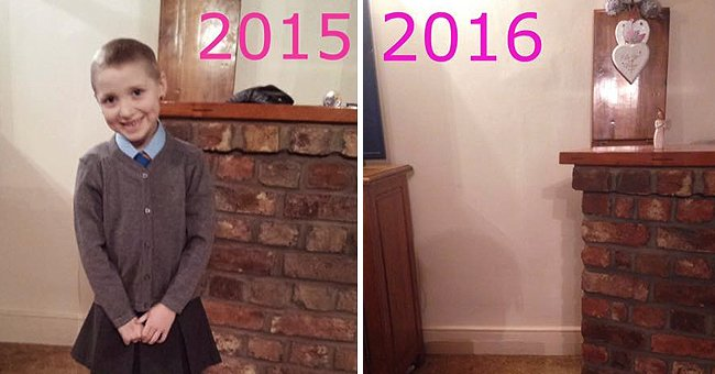 A mother posts a photo of her daughter's first day of school alongside a photo from the next year where she is no longer in the image because she passed away   Photo: Facebook/julie.apicella