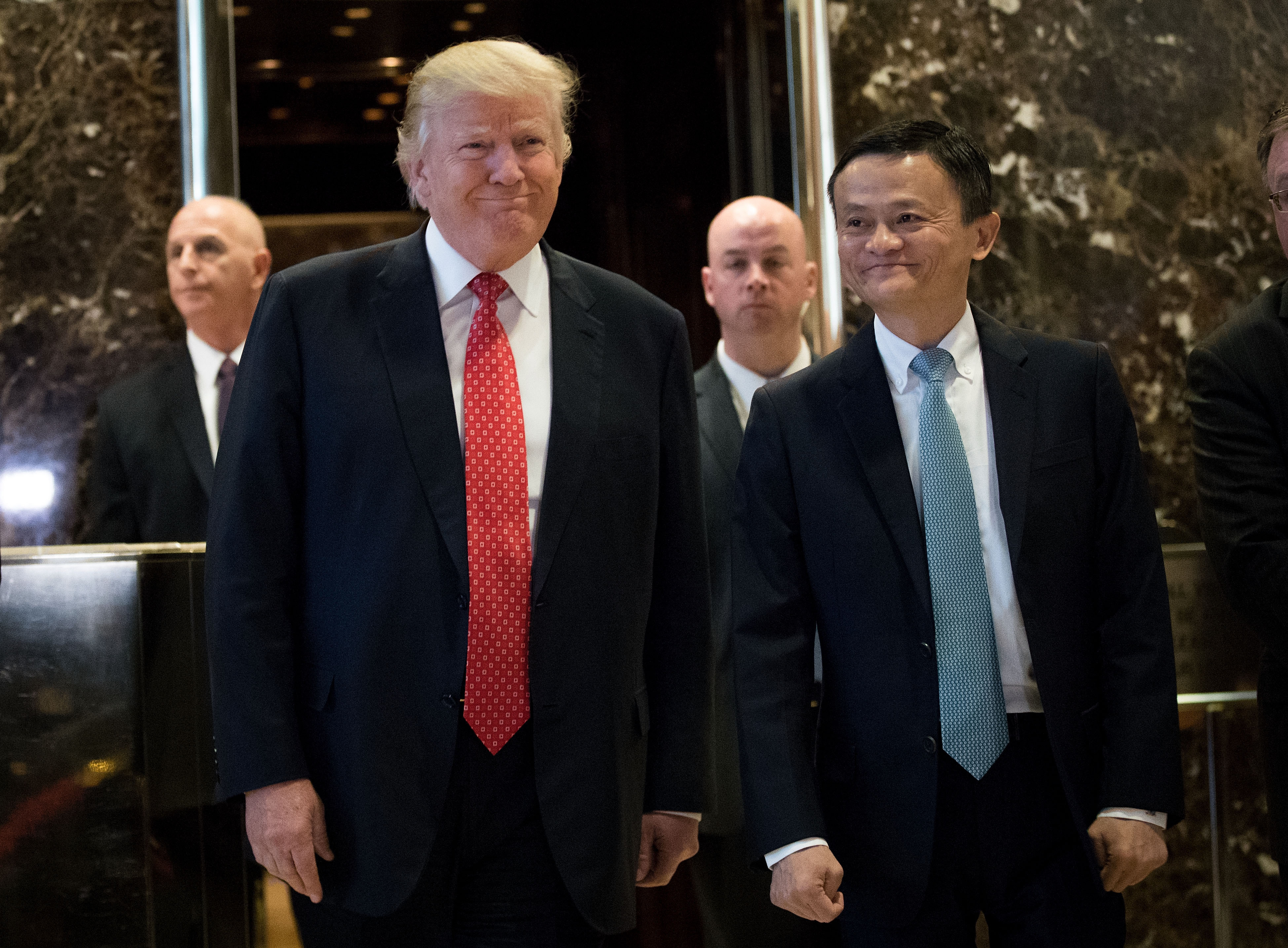 Jack Ma next to U.S. President Donald Trump after a meeting at Trump Tower in New York City | Photo: Getty Images