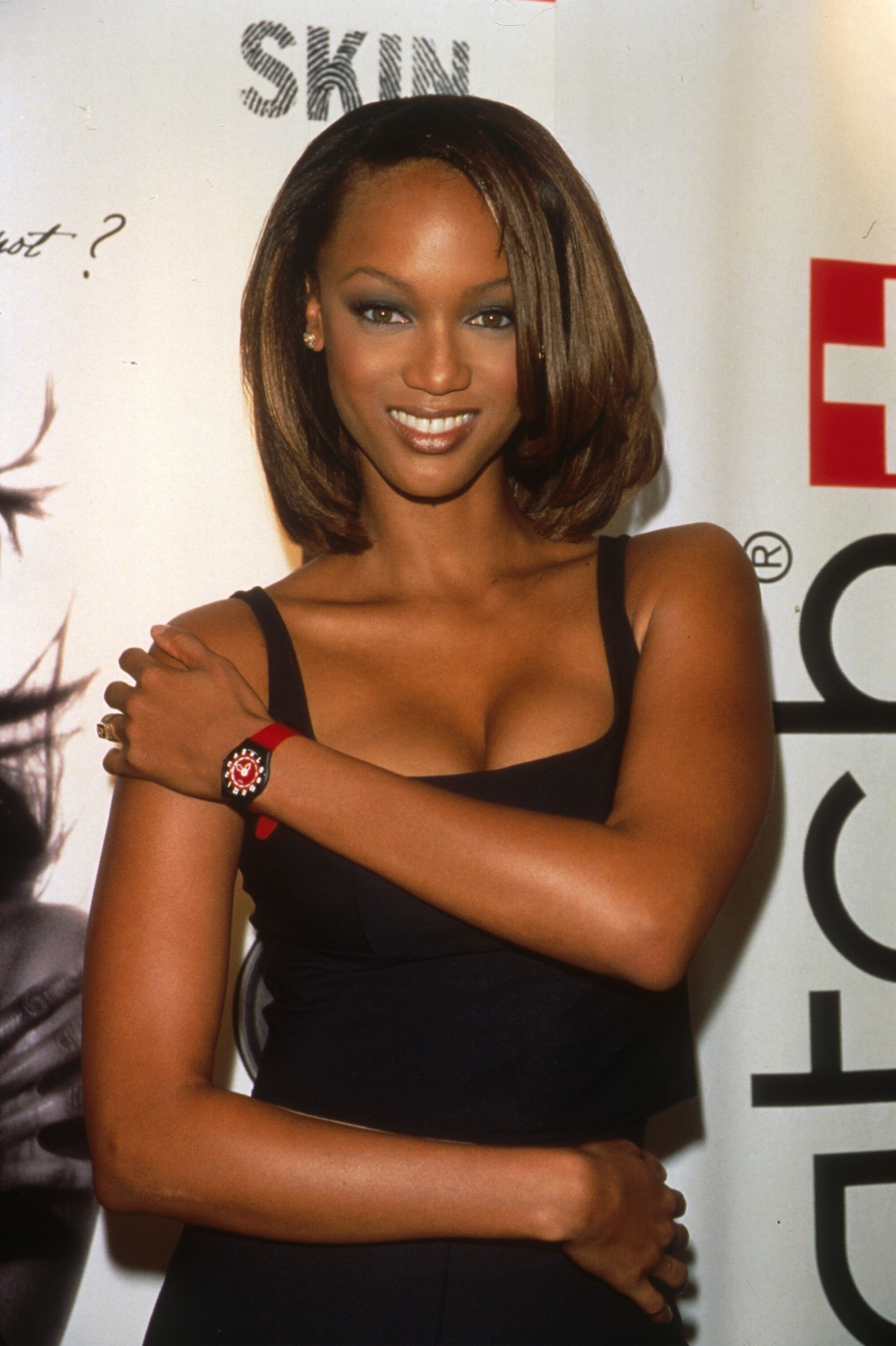 """Tyra Banks promotes the new Swatch """"Skin"""" October 23, 1997 in New York City. 