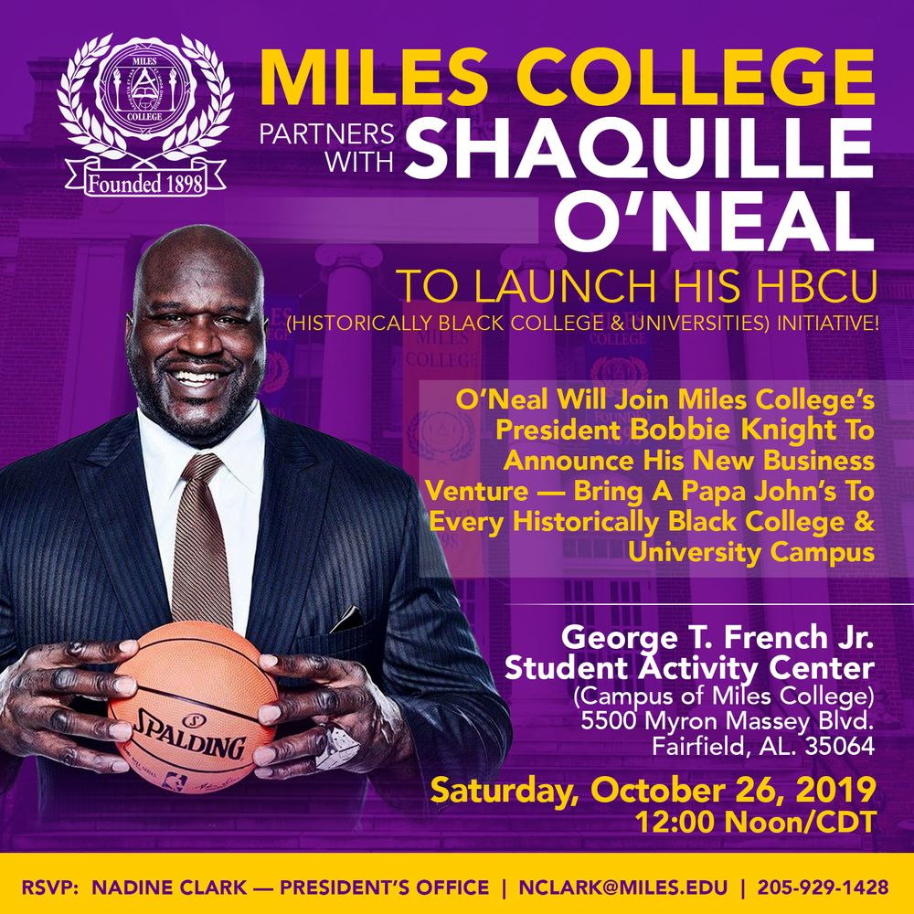 Announcement of Shaq O'Neal's Papa John project with Miles University/ Source: www.miles.edu
