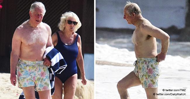 Príncipe Carlos con 70 años luce abdomen plano en traje de baño por primera vez este año