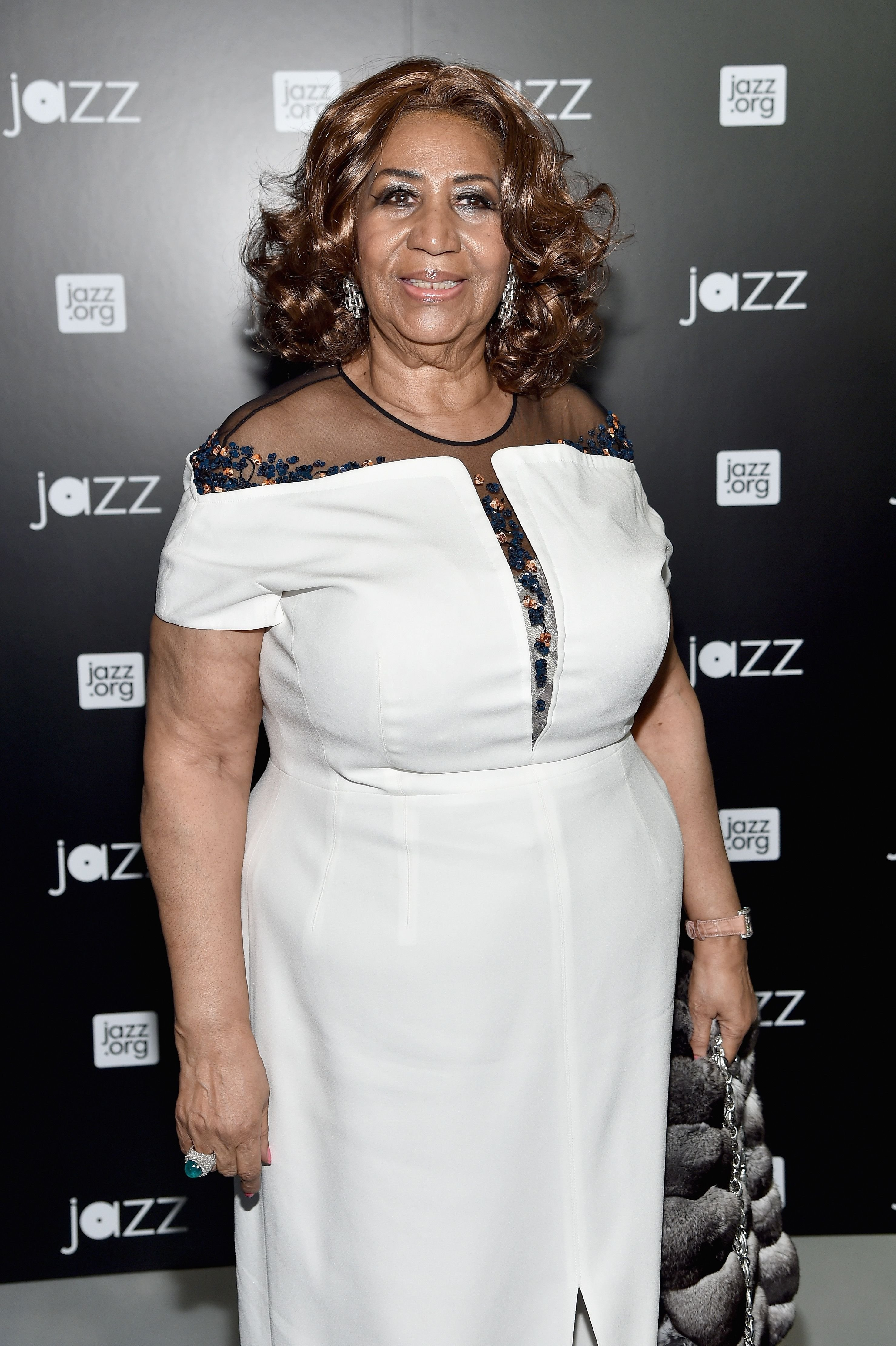 Late musician Aretha Franklin at the opening of the Mica and Ahmet Ertegun Atrium at Jazz at Lincoln Center on December 17, 2015 | Photo | Getty Images