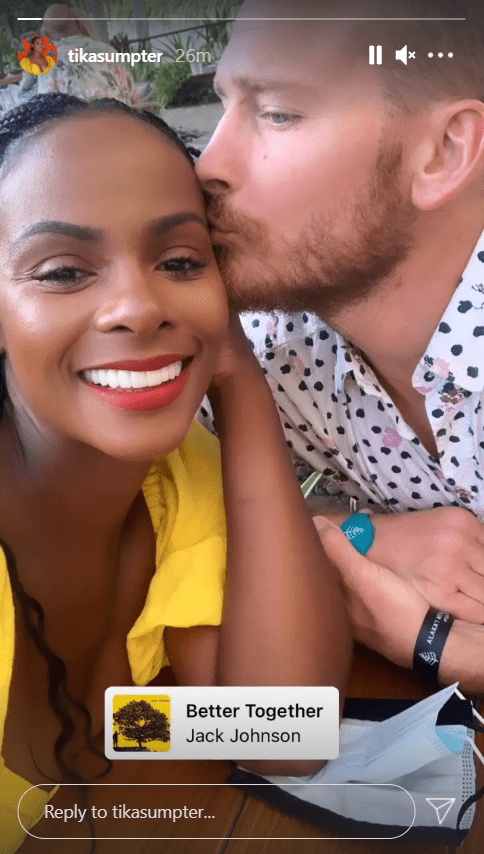 Tika Sumpter shares a story of her and her fiancé Nicholas.   Source: Instagram/tikasumpter