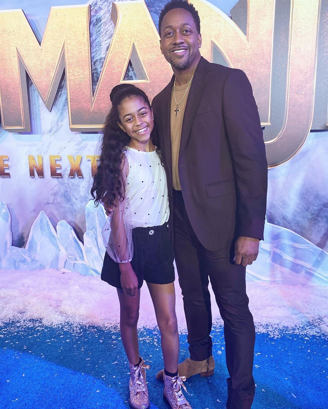 "Jaleel White and his daughter Samaya at the ""Jumanji"" movie premiere on December 09, 2019 
